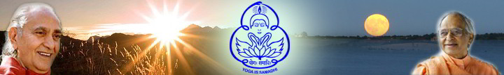 Ahymsin Newsletter Banner: Left is Swami Rama, Center is Yoga Is Samadhi logo, Right is Swami Veda